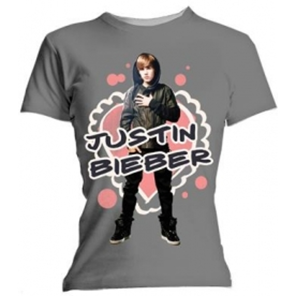 Justin Bieber Cut Out Hearts Skinny Grey T Shirt: Medium