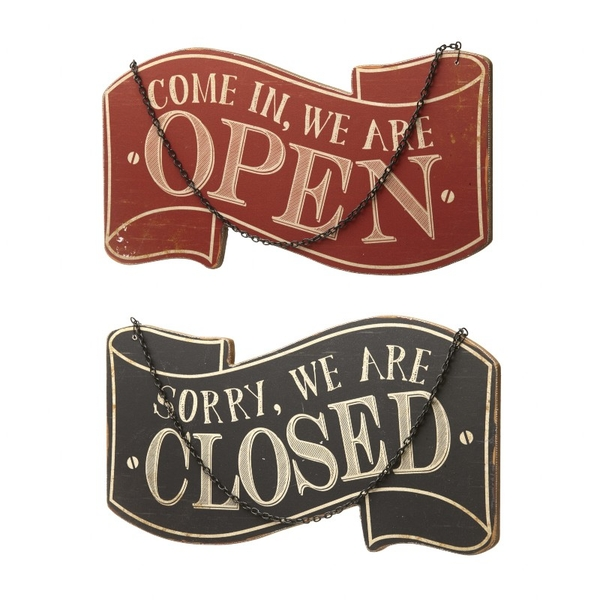 Open/close Wooden Sign by Heaven Sends