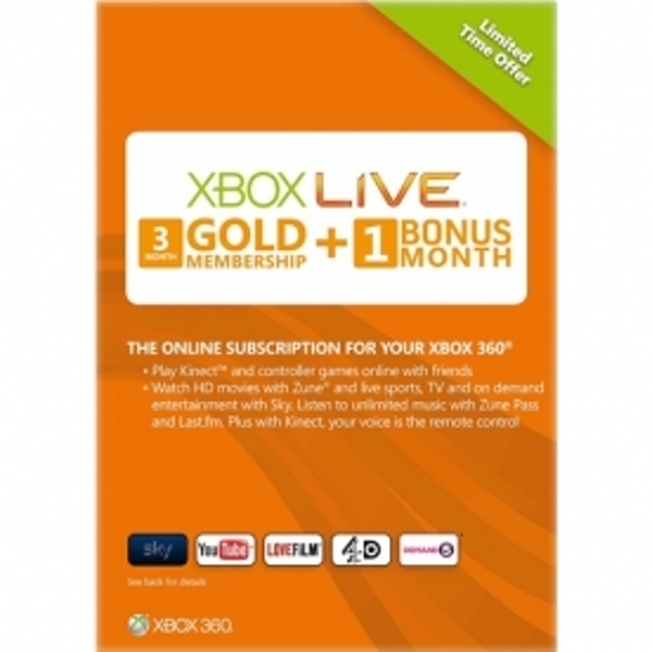 Xbox Live 3 + 1 Month Gold Membership Card