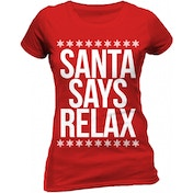 Christmas Generic - Santa Says Relax Women's X-Large Fitted T-Shirt - Red