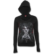 Day of The Goth Women's X-Large Wide Rib Drape Hoodie - Black