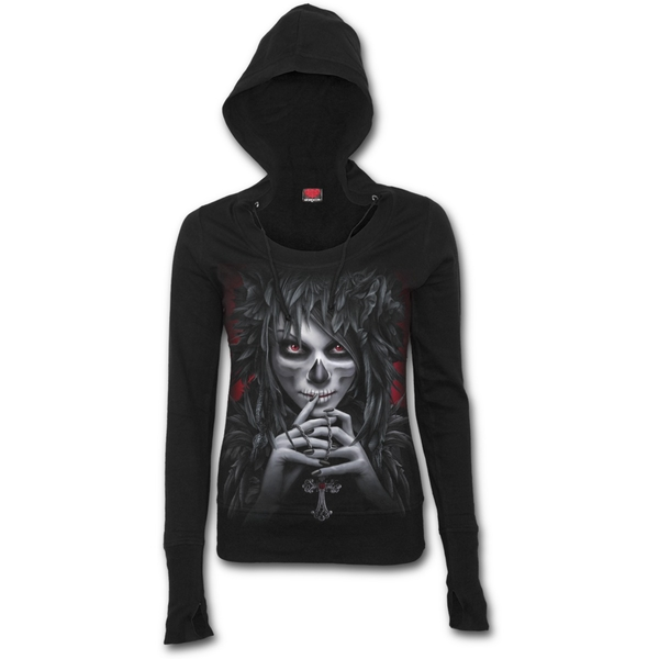 Day of The Goth Women's X-Large Wide Rib Drape Hoodie - Black - Image 1