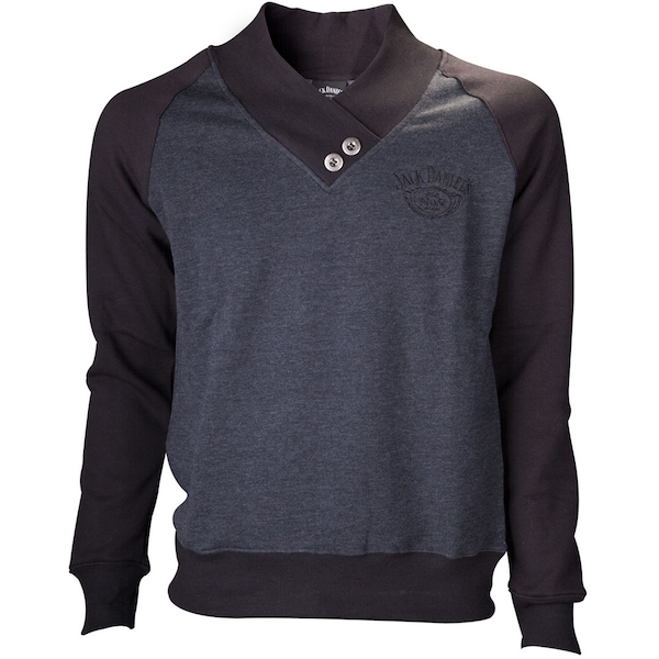Jack Daniel'S - V-Neckine With Old No.7 Brand Logo Men's Medium Sweater - Grey/Black