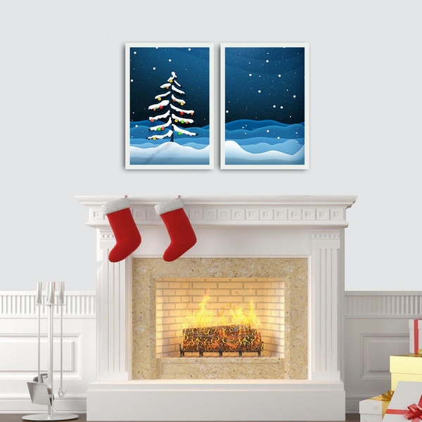 2PBCTNOEL-06 Multicolor Decorative Framed MDF Painting (2 Pieces)