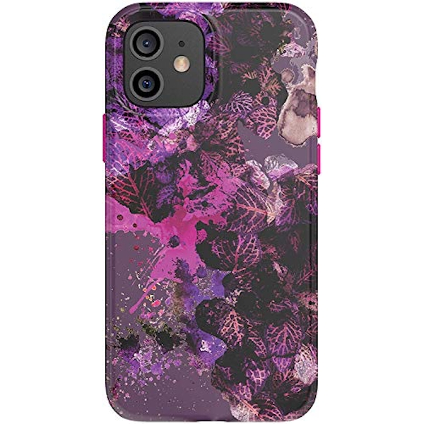 tech21 EcoArt Collage Pink and Purple for Apple iPhone 12 and 12 Pro 5G - Fully Biodegradable Phone Case with 3 Meter Drop Protection