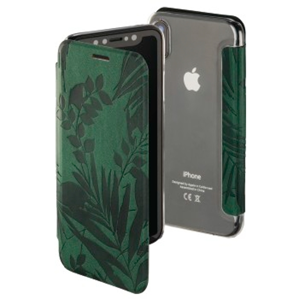 """Hama """"Jungle Leaves"""" Booklet for Apple iPhone X, dark green"""