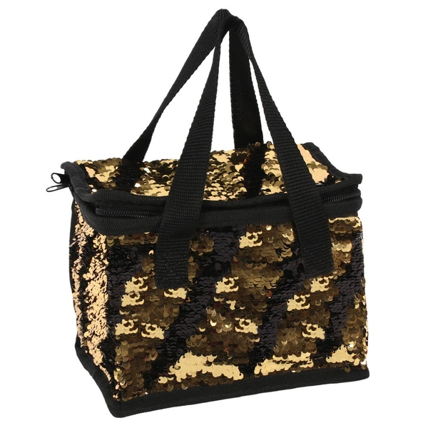 Black And Gold Reversible Sequin Lunch Bag