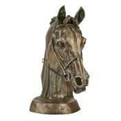 Horse Racing Eventers Head by Harriet Glen Cold Cast Bronze Sculpture 16cm