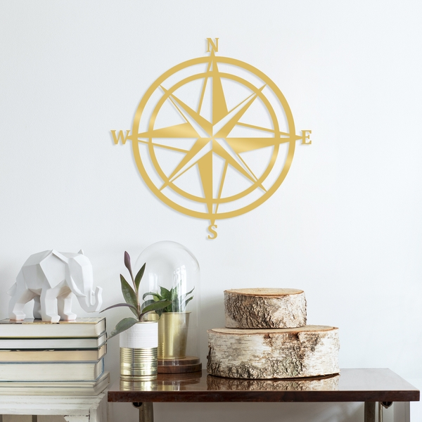 Compass - Gold Gold Decorative Metal Wall Accessory