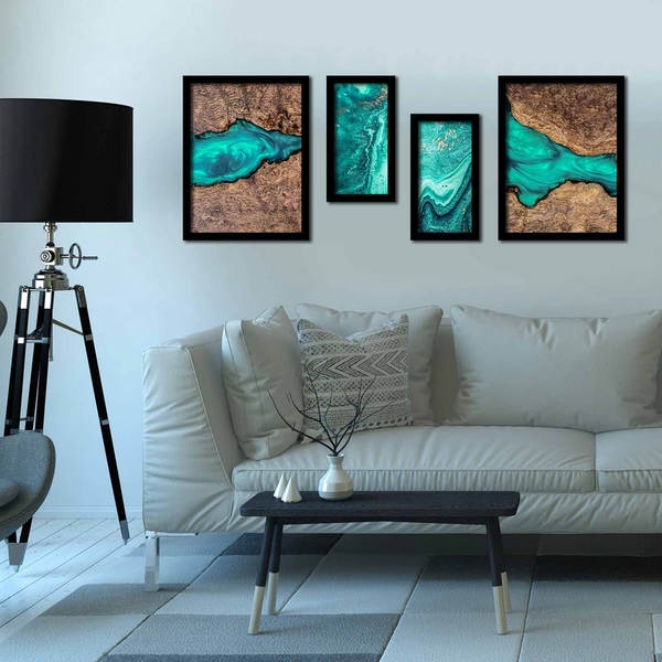 4P3040SCT006 Multicolor Decorative Framed MDF Painting (4 Pieces)