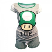 Nintendo Super Mario Bro. Female Green 1-UP Mushroom Shortama Small Nightwear Set