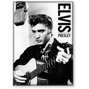 Elvis Black And White Flat Magnet