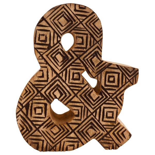Letter & Hand Carved Wooden Geometric