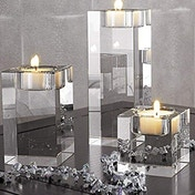 Set of 3 K9 Crystal Candle Holders