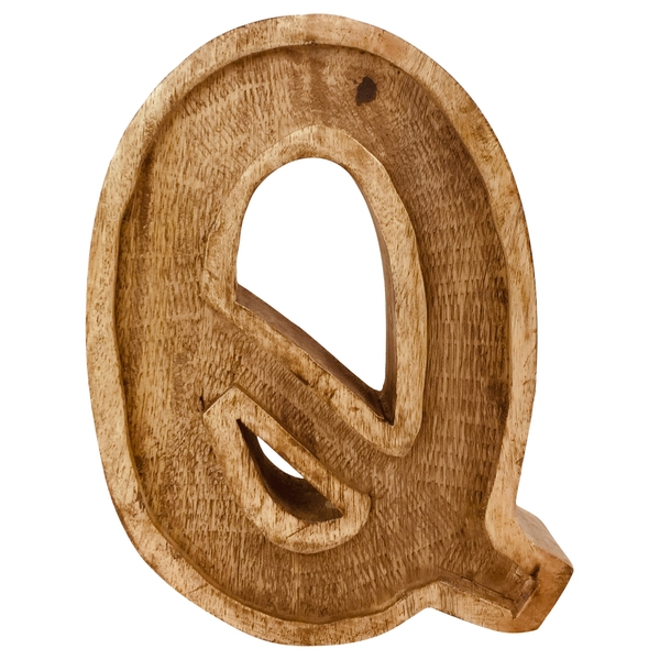 Letter Q Hand Carved Wooden Embossed