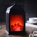 Mini LED Fireplace Lantern Matte Black - Image 3