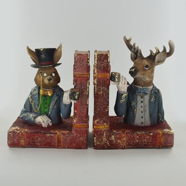 Dapper Animals Country Shelf Tidy Pair Bookends H15cm