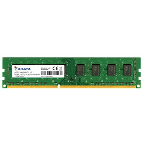 ADATA 4GB, DDR3, 1600MHz (PC3-12800), CL11, DIMM Memory, Single Rank, 512x8