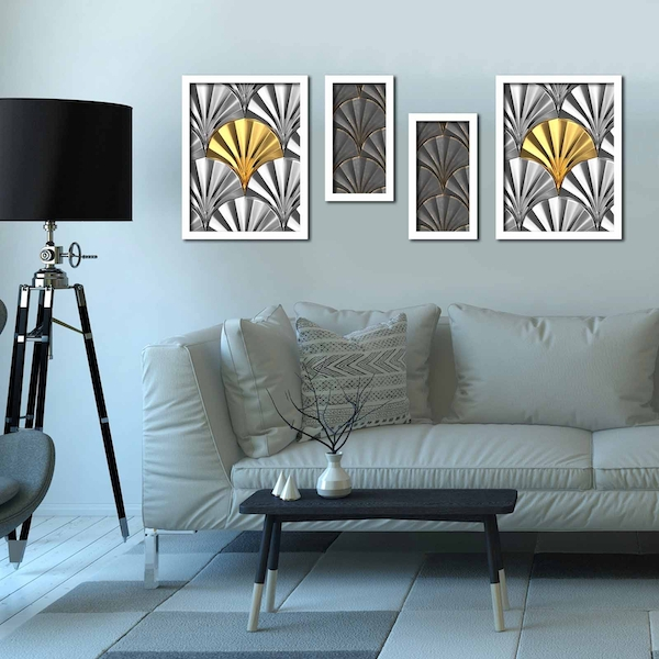 4P3040BCT017 Multicolor Decorative Framed MDF Painting (4 Pieces)