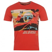 Ferrari Alonso Logo Car T-Shirt Medium Red