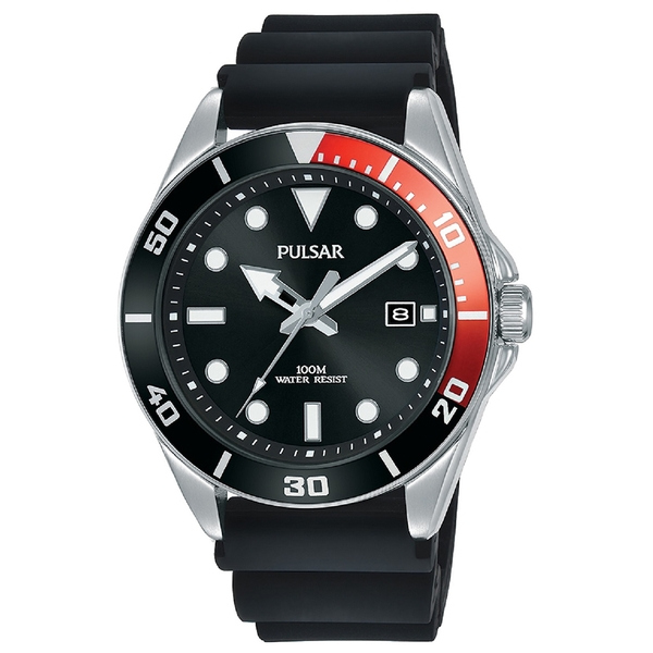 Pulsar PG8297X1 Mens Sports Silcone Strap Stainless Steel Case Divers Inpsired 100M Watch