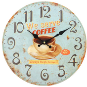 Distressed Look We Serve Coffee Wall Clock
