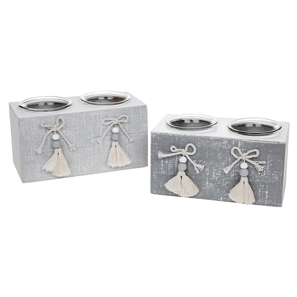 Provence Cool Grey Double Tealight (One Supplied)