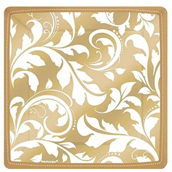 Square Plates Gold (Pack Of 8)
