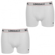 Lonsdale 2 Pack Mens Trunk Boxer Shorts White Large