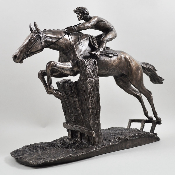 Horse Racing At Full Stretch by David Geenty Cold Cast Bronze Sculpture 26cm