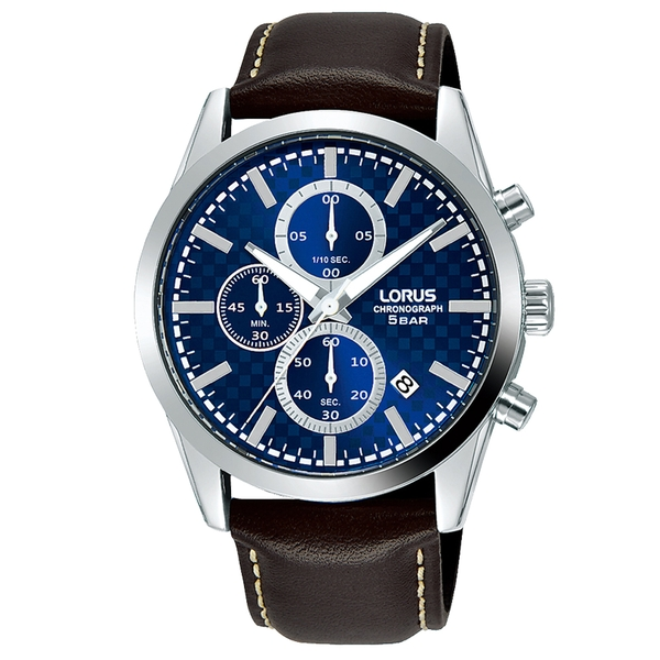 Lorus RM397FX9 Mens Dress Chronograph Brown Leather Strap Watch
