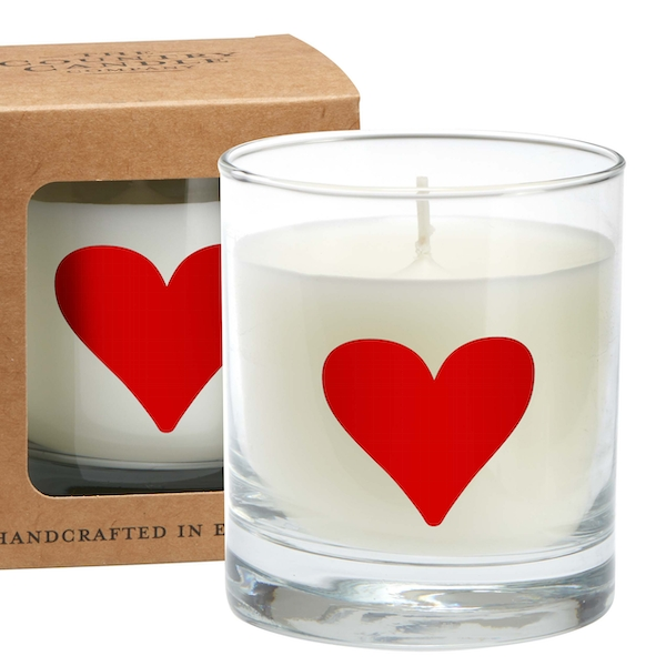Red Heart Alphabet Candle in Large Glass Jar