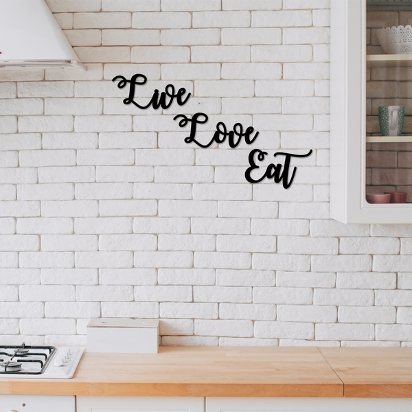 Live Love Eat Black Decorative Wooden Wall Accessory