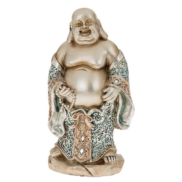 Happy Blue Buddha Standing Large Ornament