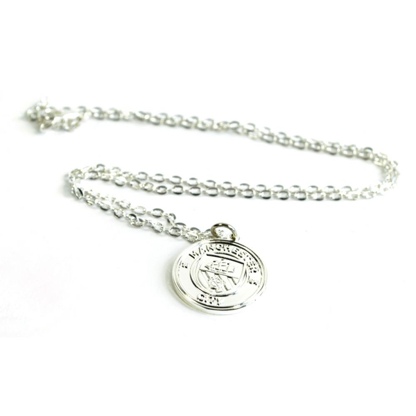 Man City Silver Plated Crest Pendant and Chain