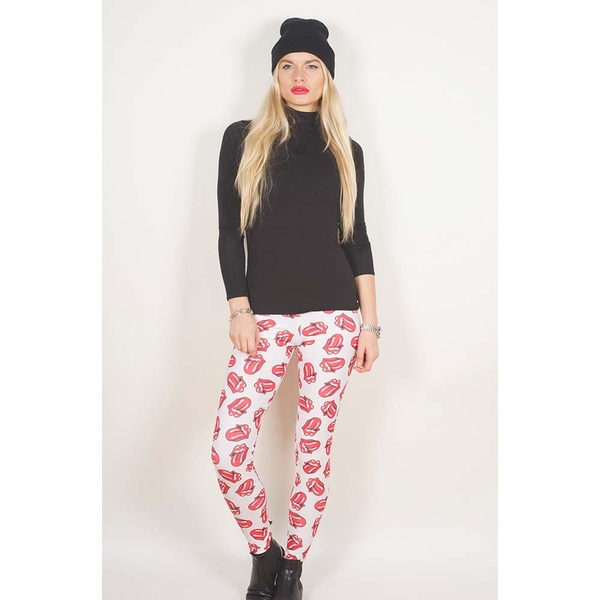 The Rolling Stones - Classic Tongue Repeat Ladies Medium-Large Fashion Leggings - Red,White