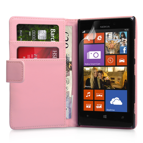 YouSave Accessories Nokia Lumia 925 Leather-Effect Wallet Case - Baby Pink