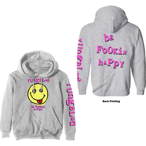 Yungblud - Raver Smile Unisex Large Pullover Hoodie - White