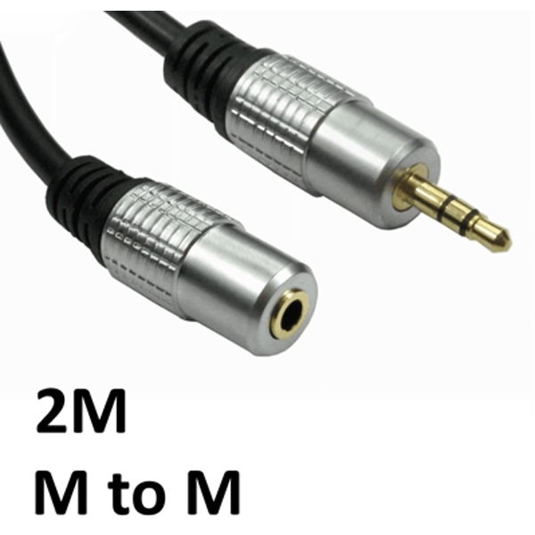Image of 3.5mm (M) Stereo Plug to 3.5mm (F) Stereo Plug 2m Black with Gold Connectors OEM Cable