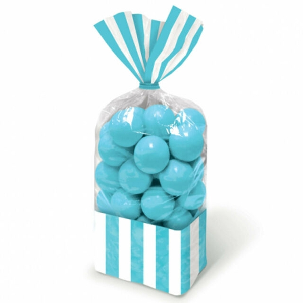 Amscan Caribbean Striped Blue Treat Bags (10 Pieces)