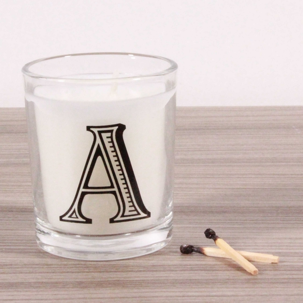 A Alphabet Candle in Votive Glass - Image 1