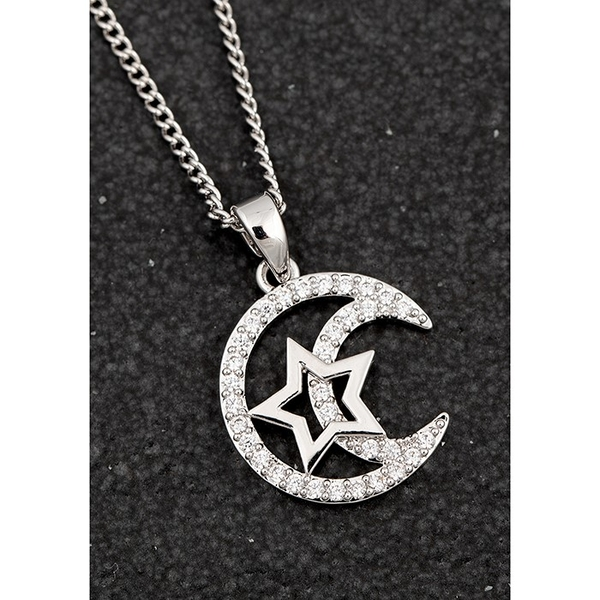 Celestial Star In Moon Platinum Plated Necklace