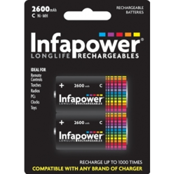 INFAPOWER C Size 2600MAH NI-MH Rechargeable Batteries (2-Pack) B005