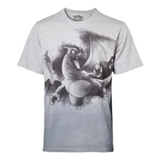 Pokemon - Charizard Oil Washed Men's XX-Large T-Shirt - Grey