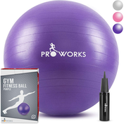 Proworks Anti-Burst Exercise Ball 65cm Heavy Duty With Pump In Purple