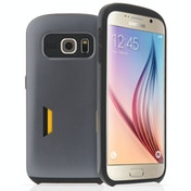 Caseflex Samsung Galaxy S6 Matt Finish Hard Case With Card Slots - Gun Metal