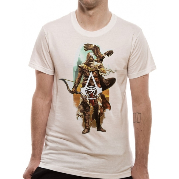 Assassins Creed Origins - Character And Eagle Unisex Medium T-Shirt - White