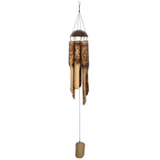 Burnt Flower Pattern Bamboo Windchime