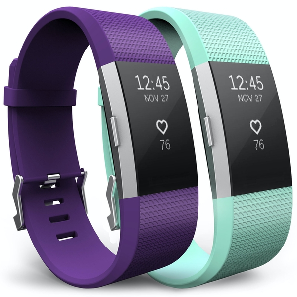 Yousave Plum/Mint Green Activity Tracker Strap - Large (2 Pack)