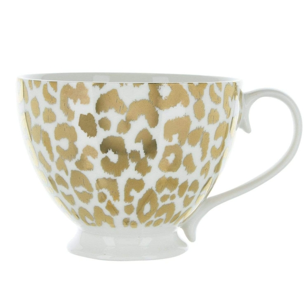 Animal Luxe Footed Mug Leopard Print Gold